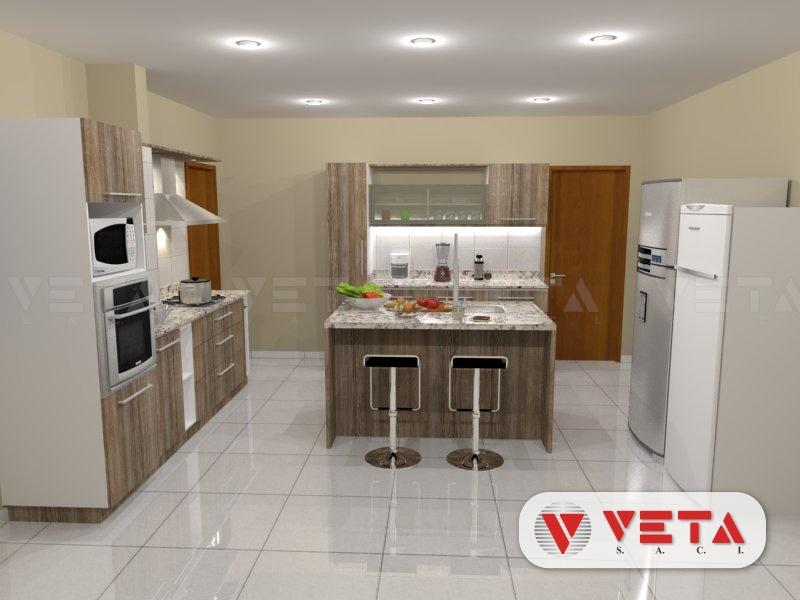 Conjunto de muebles de cocina y desayunador en isla - VETA S.A.C.I.