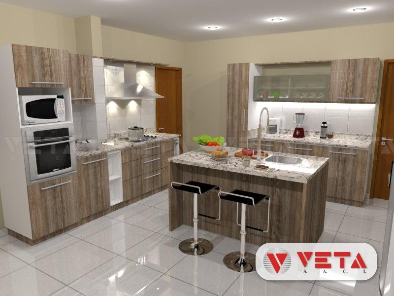 Conjunto de muebles de cocina y desayunador en isla veta for Cocina comedor con isla
