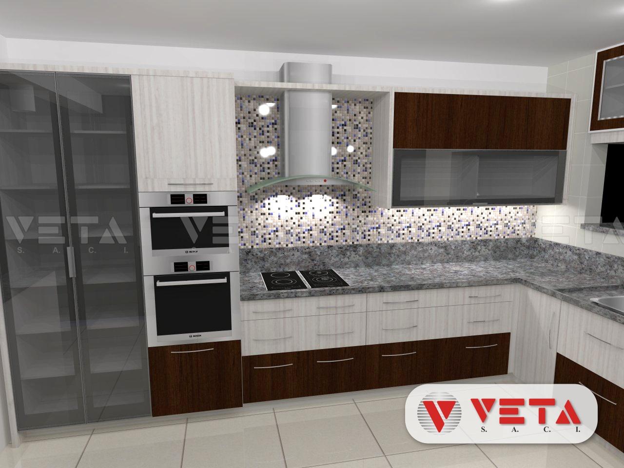 Armarios cerrados y decorando su cocina con un for Cocinas con mosaico