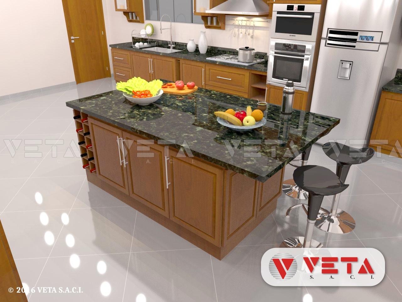 Amoblamiento de cocina con desayunador y cristalero veta for Desayunador para cocina