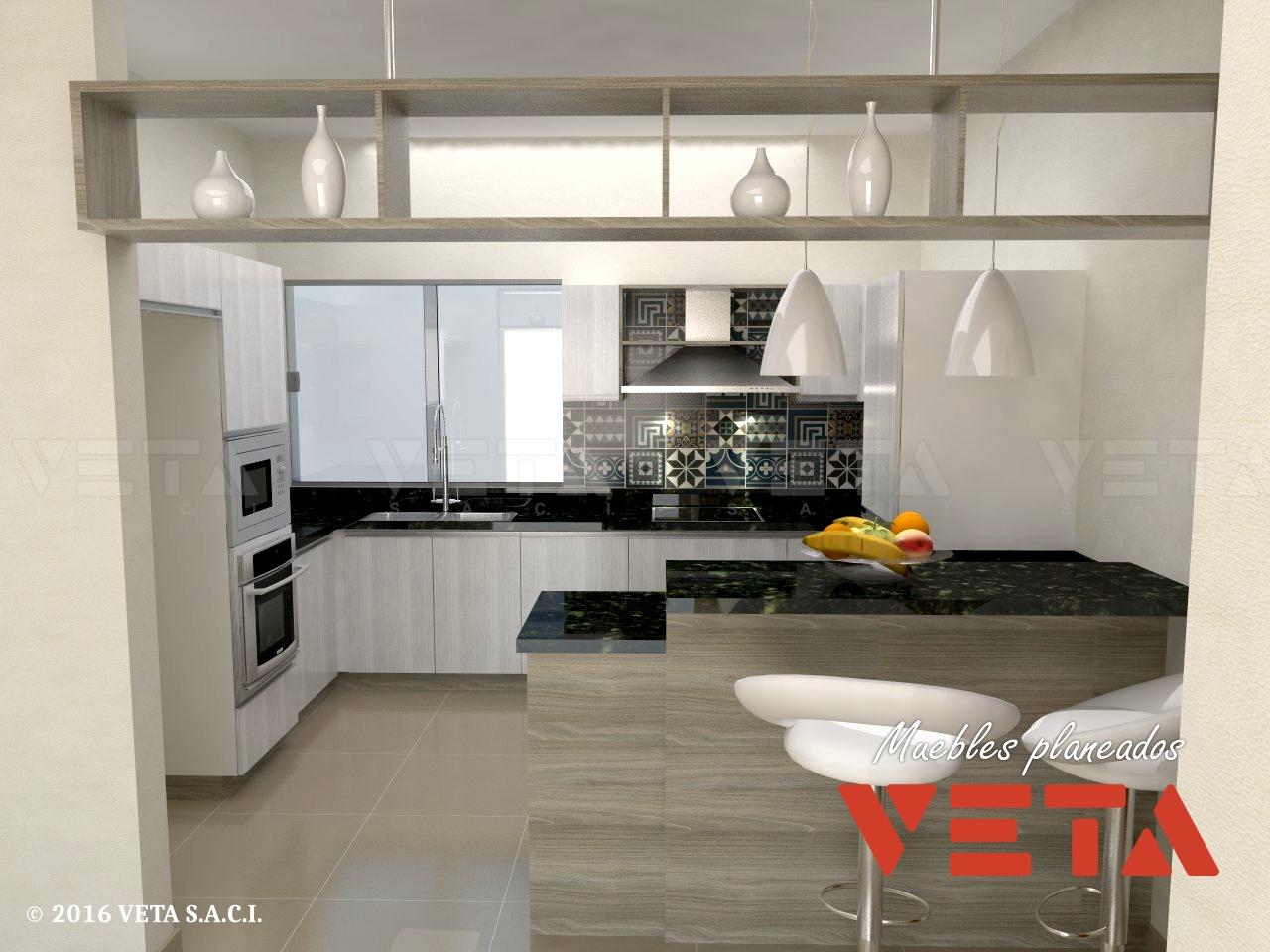 Muebles de colores claros en la cocina - VETA S.A.C.I.